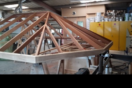 Roof lantern being manufactured in the workshop in Accoya