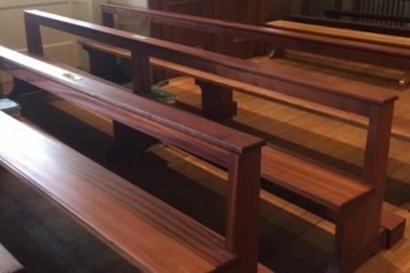 Made in mahogany with a hand waxed finish, the pews are exact copies of the originals.
