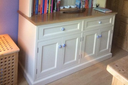 Bespoke traditional welsh dresser. Manufactured in Tulipwood and spray finished, with an Oak polished top.
