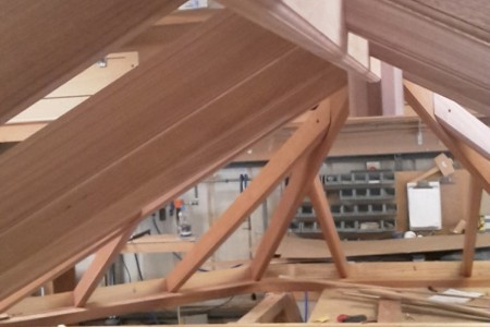 Roof lantern being manufactured in workshop, made in Accoya